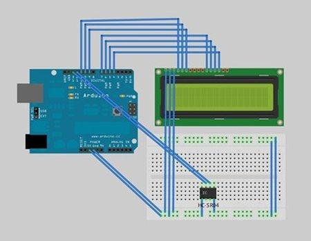 Arduino Ultra Sonic Sensor Schematic
