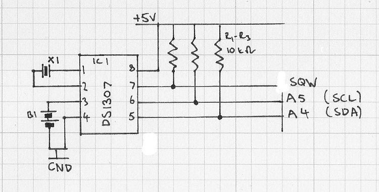 Arduino real-time clock to the Freetronics Schematic