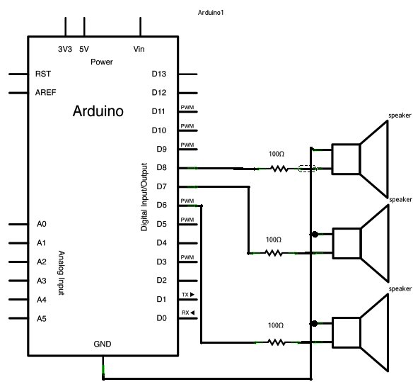 Arduino tones on Multiple outputs schematic