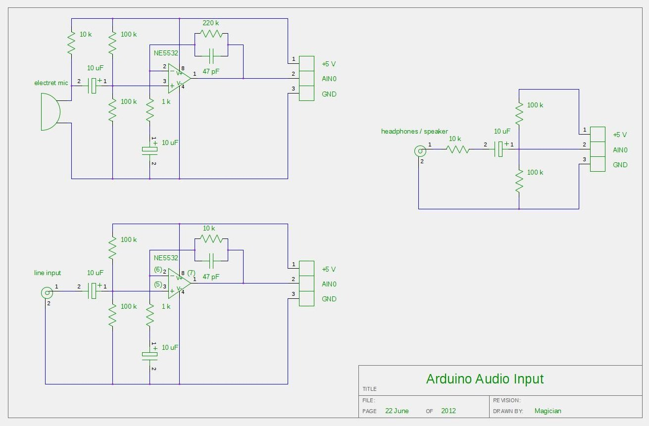 Audio Input to Arduino Schematic