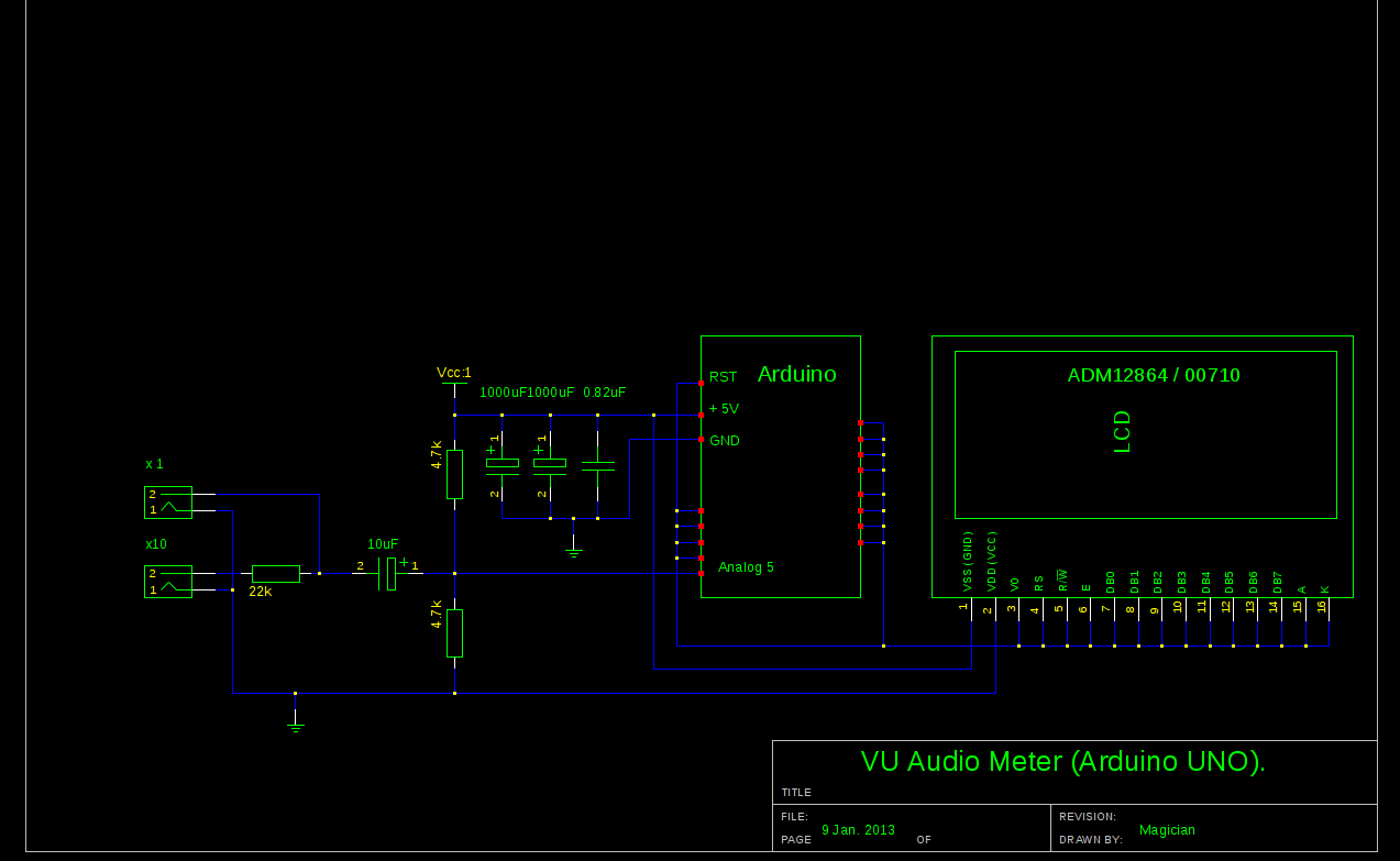 Audio VU Meter using Arduino schematic
