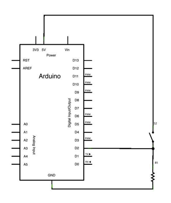Button State Change Detection using Arduino Schematic
