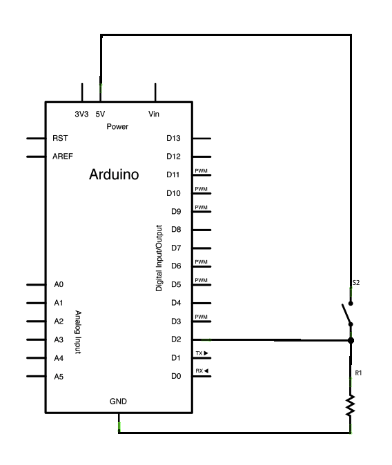 Debounce an input using Arduino Schematic