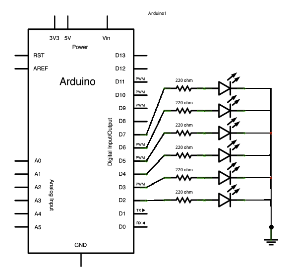 How to use an array with Arduino schematic