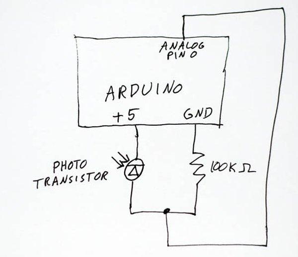 Lightning Shutter Trigger for a Camera using Arduino Schematic