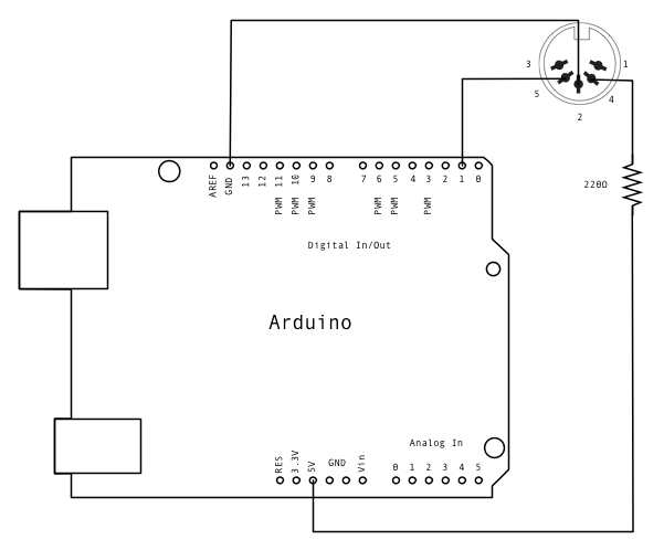 MIDI Note Player using Arduino schematic