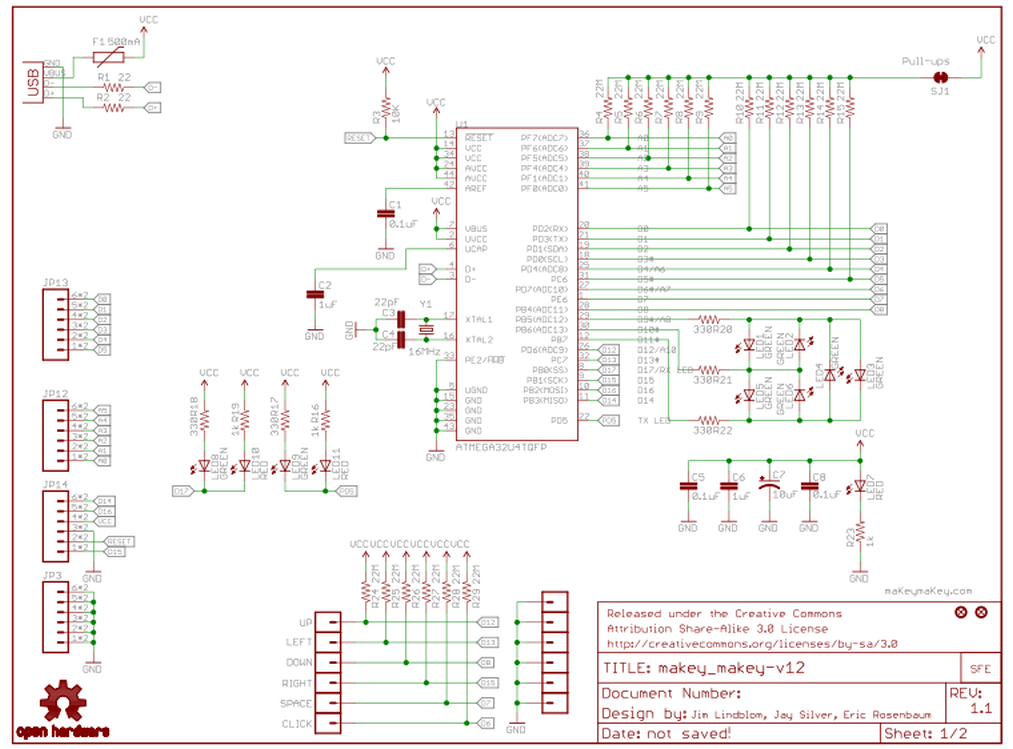 MaKey MaKey Shield for Arduino Schematic