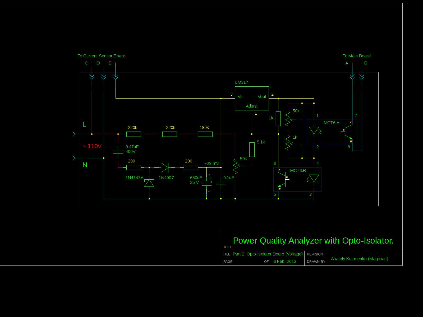 Power Meter using Arduino schemtaic