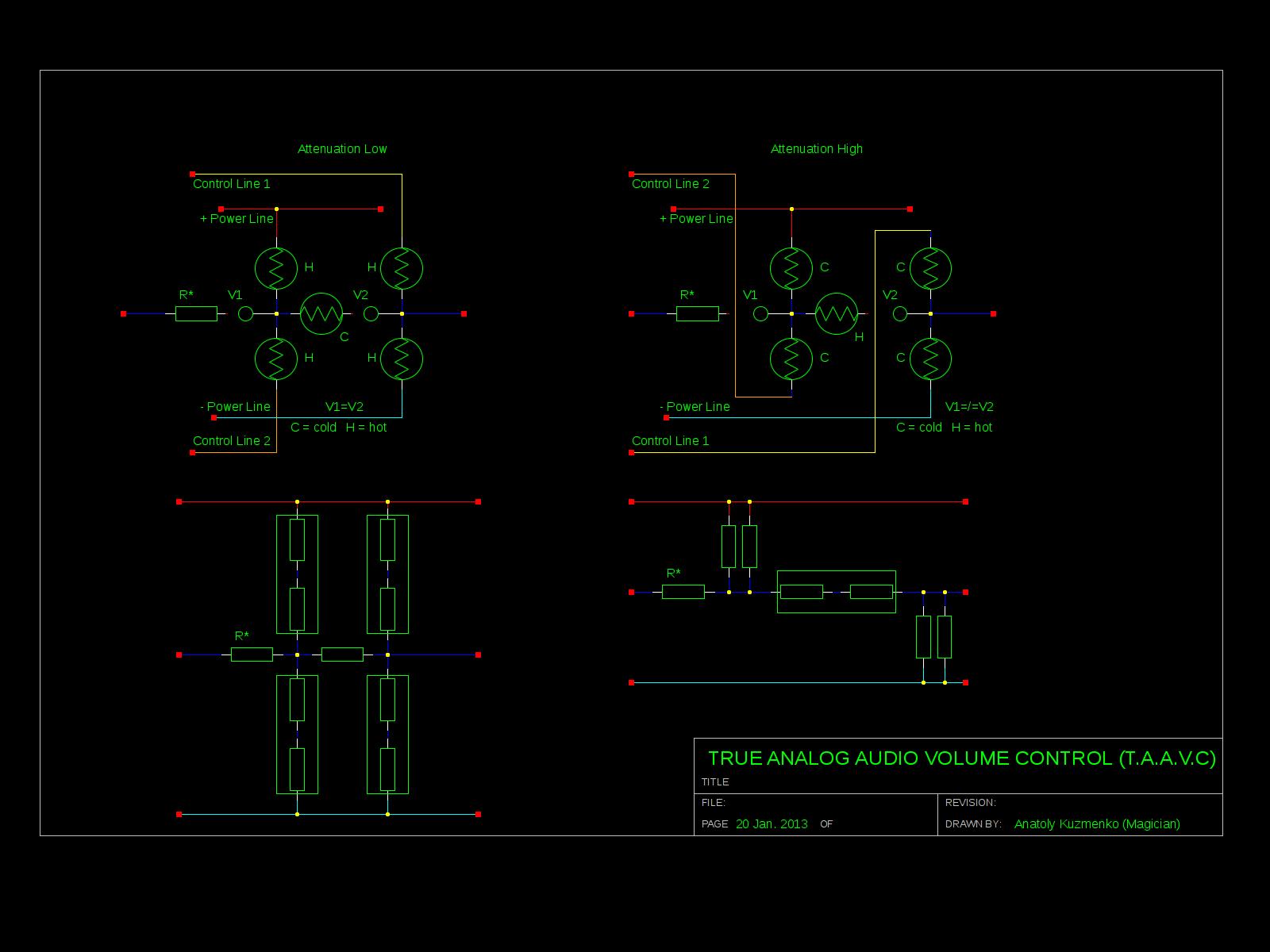 True Analog Audio Volume Control using Arduino Schematic