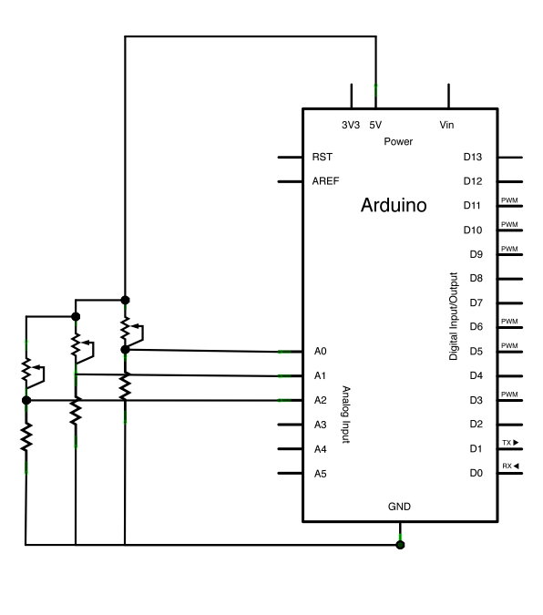 Virtual Color Mixer using Arduino schematic