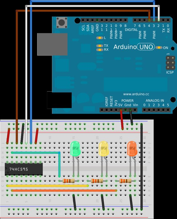 Arduino 8-Bit Waterfall schematic