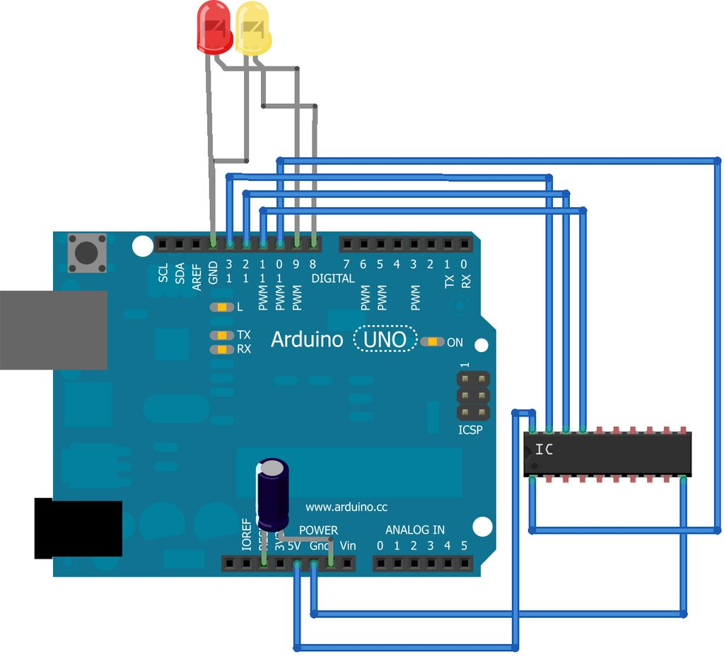 Arduino ATtiny2313 Programming Shield circuit