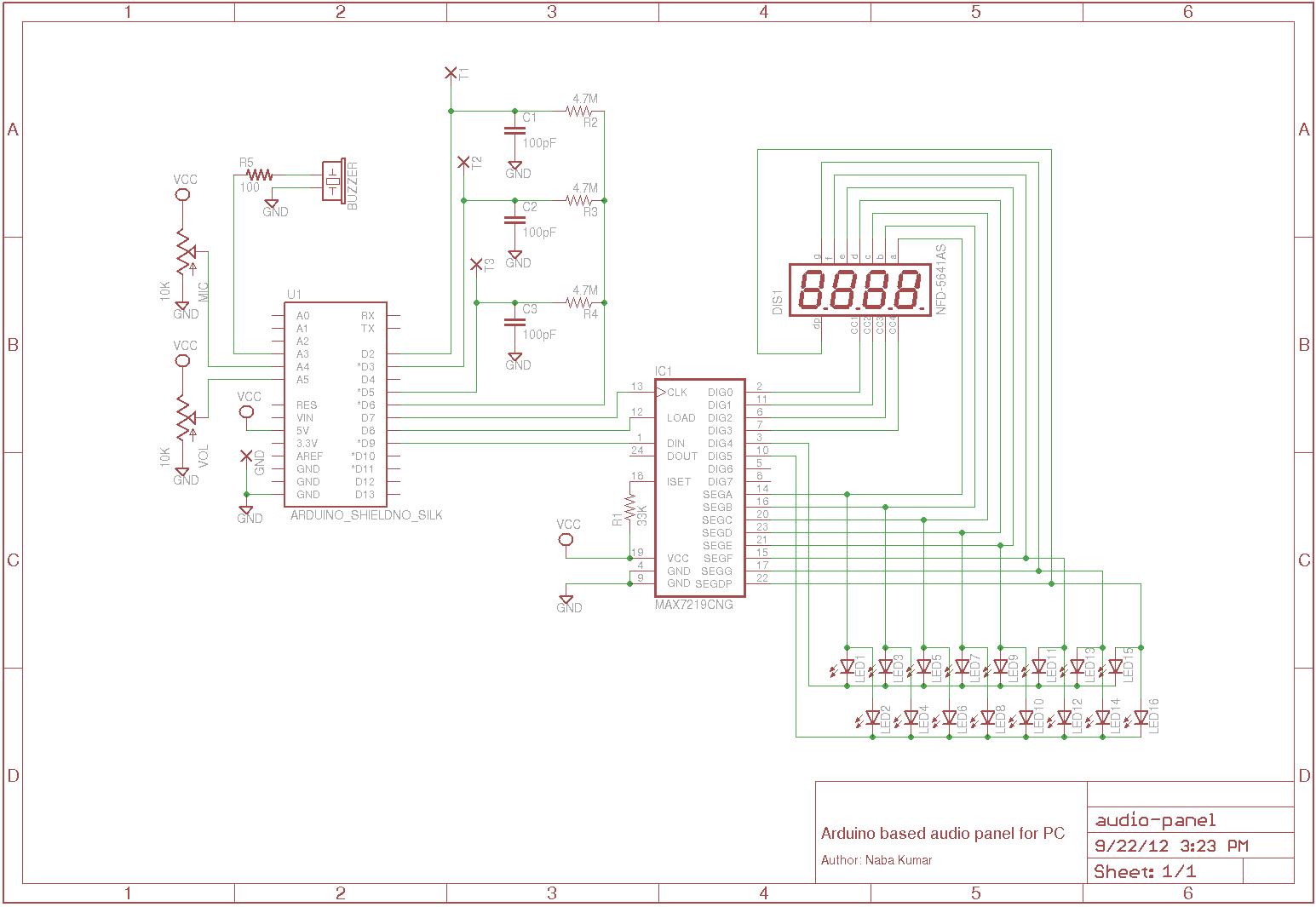 Arduino Analog audio panel schematic