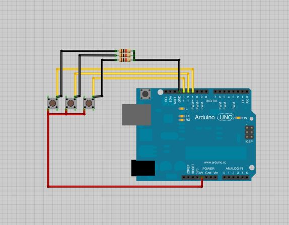 Arduino Connect several digital inputs to one analog input schematic