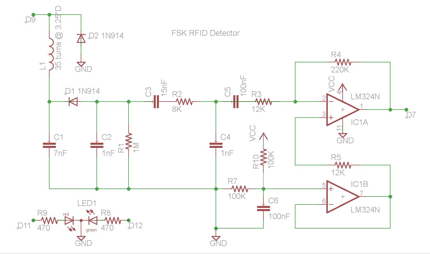 Arduino DIY FSK RFID Reader schematic
