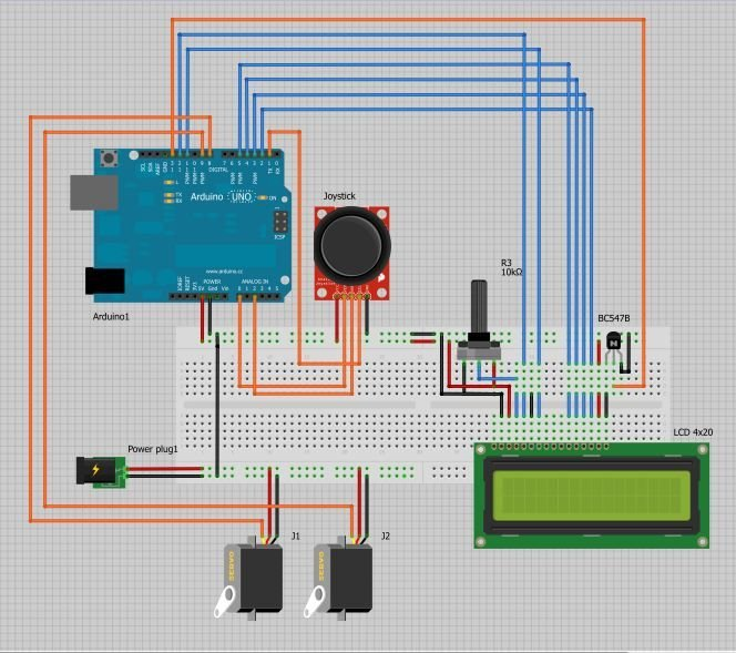 Arduino Joystick controlled Camera circuit