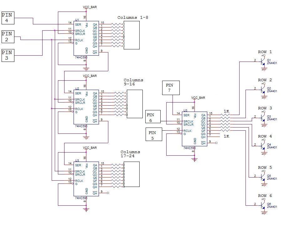 Arduino MATRIX LED DISPLAY schematic