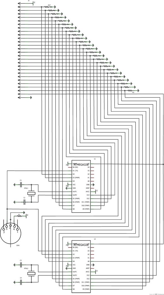 Arduino MIDI Foot Pedal Keyboard schematic