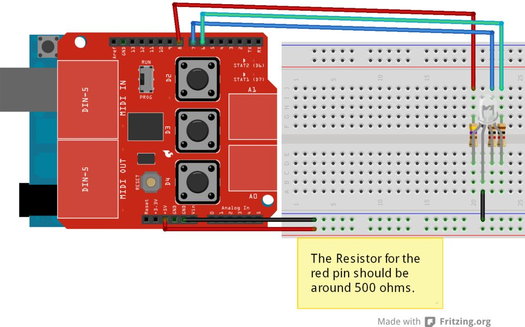 Arduino Midi Light Show Circuit