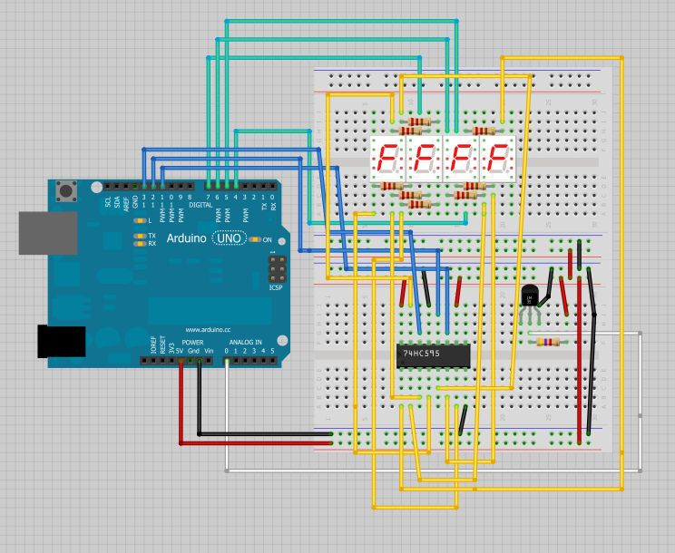 Arduino Temperature Displayed schematic