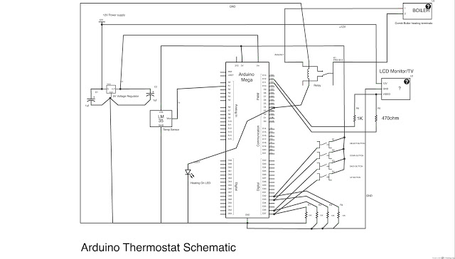 fully featured Arduino Thermostat Schematic