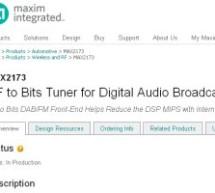 Maxim DAB tuner supports software-defined radio