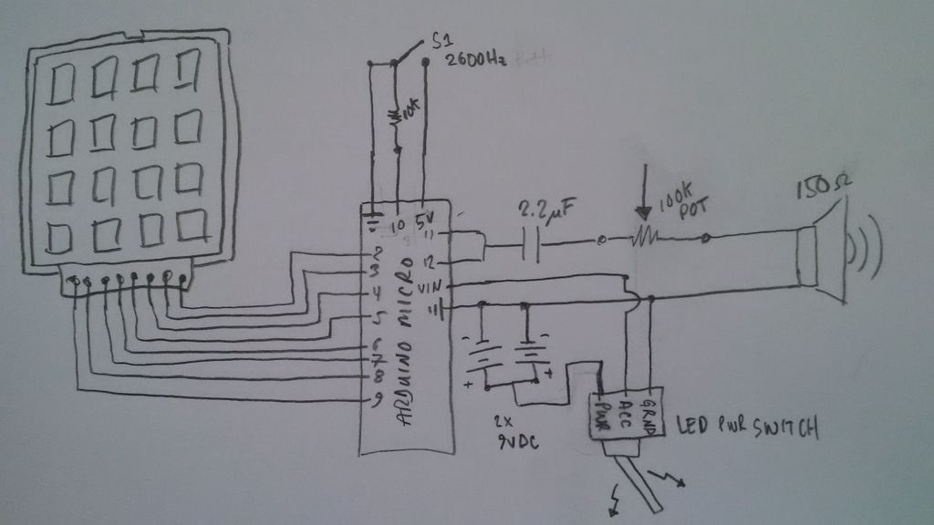Arduino-Based Blue Box (Phone Phreaking) schematic