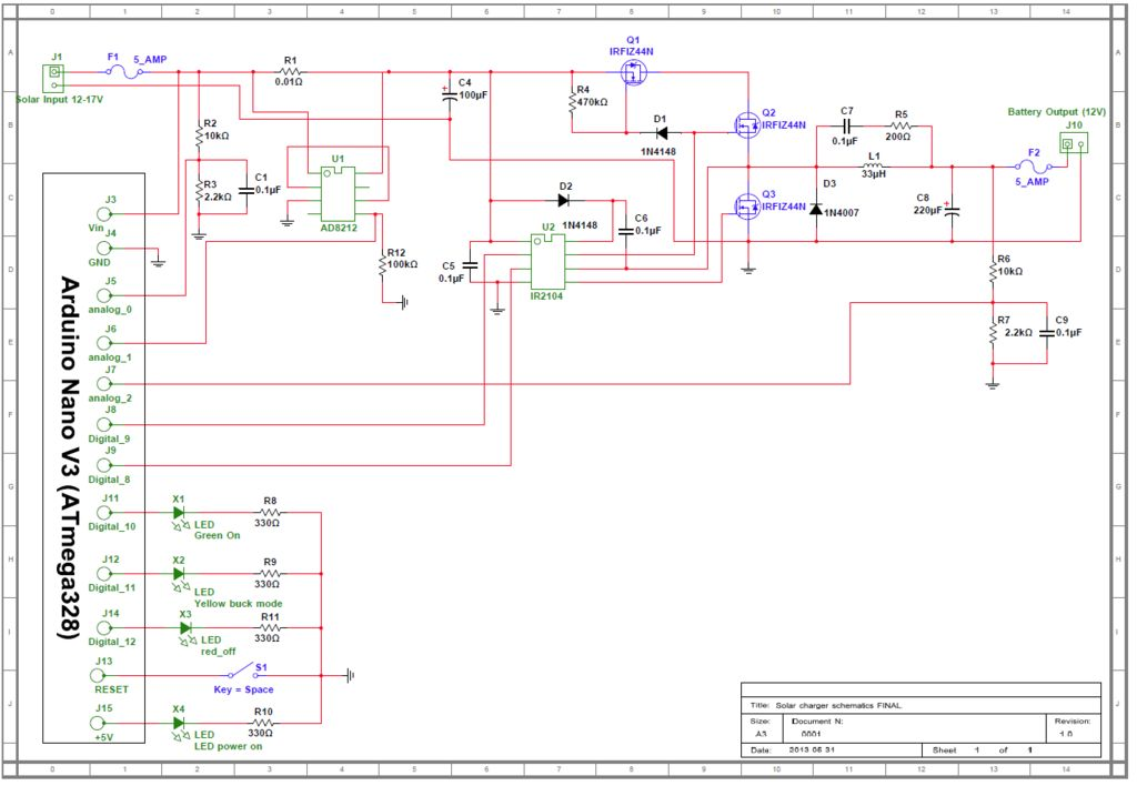 Arduino powered Solar Battery Charger schematic