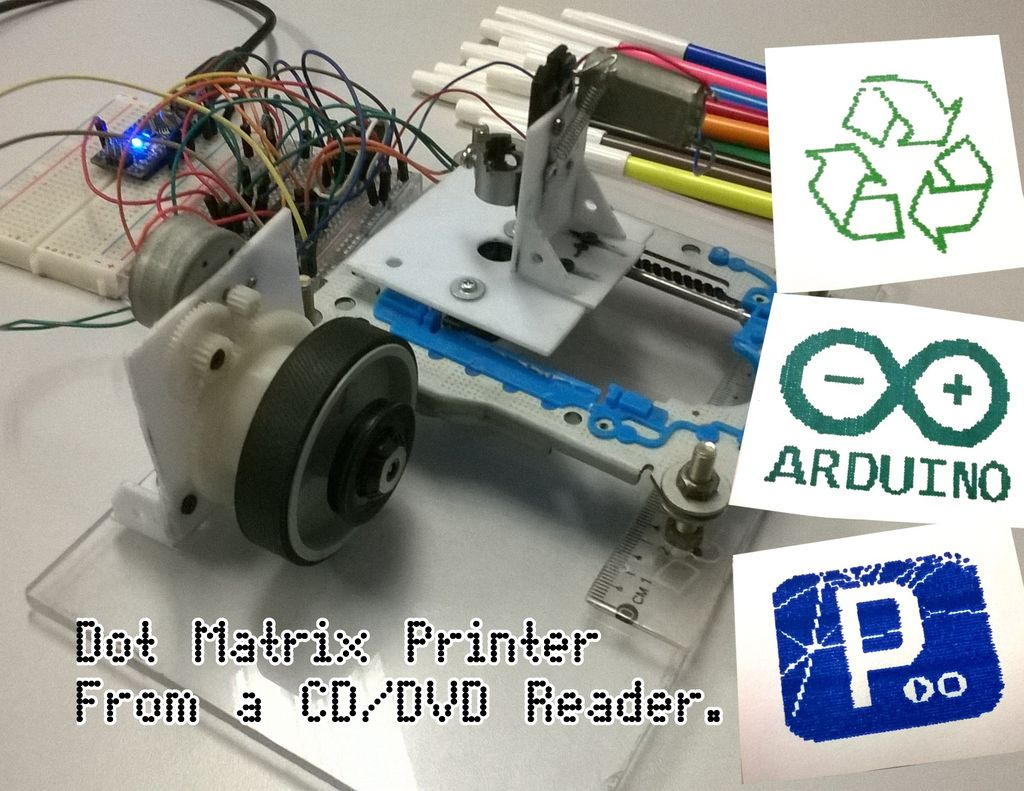 Dot Matrix Printer from a CD or DVD Reader with Arduino