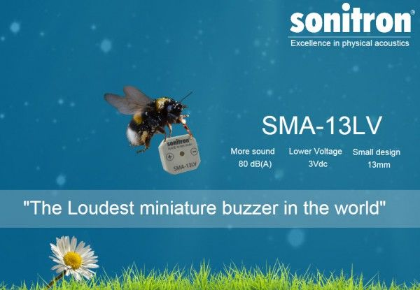 Piezo buzzer Sonitron SMA-13LV deploys maximum from a minimum