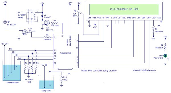 Circuit Diagram Water Level Indicator - 24h schemes on