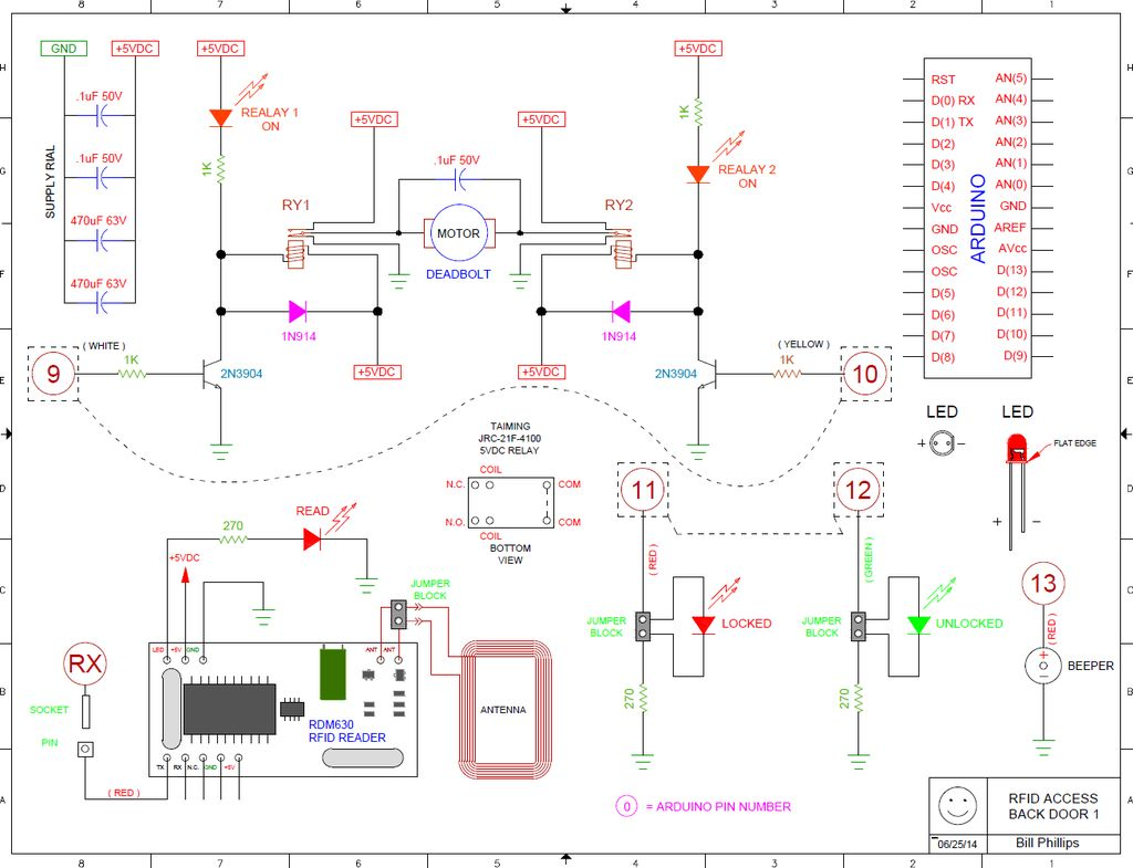 125 KHz RFID OPERATED DEADBOLT using arduino schematic
