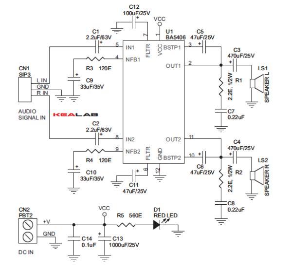 5W Stereo Audio Amplifier Schemetic