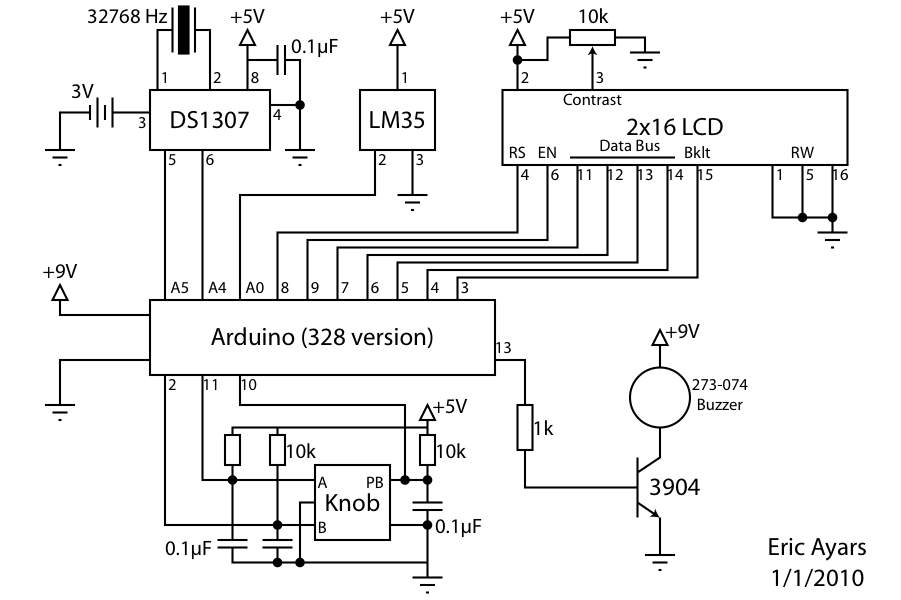 Alarm Clock Overkill schematic