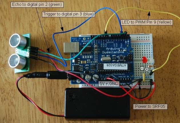 Arduino – Sonic range finder with SRF05 circuit