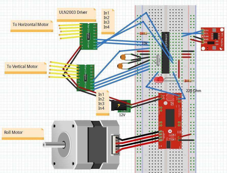 Arduino Etch-A-Sketch Clock circuit