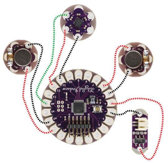 Arduino Lilypad Slipper Automatic Foot Massager circuit