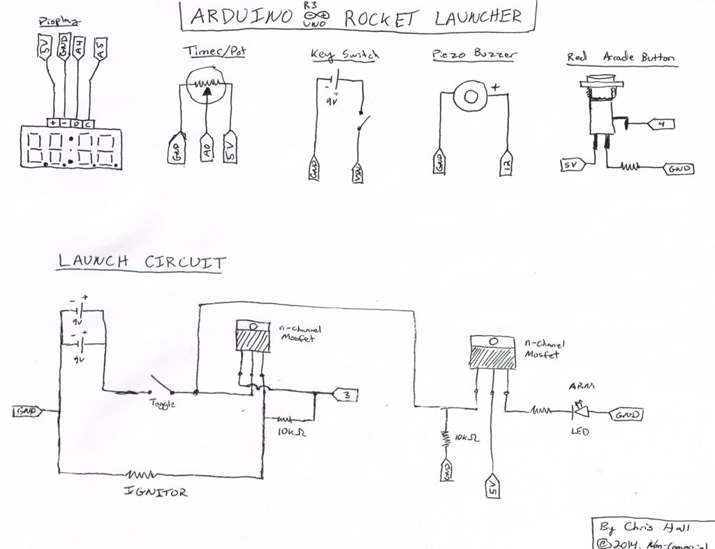 Arduino Model Rocket Launcher for 3D Printed Rockets schematic