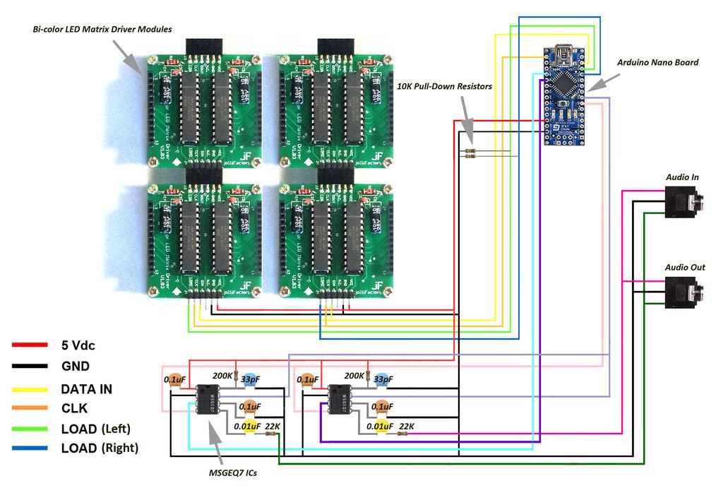 Arduino based Bi-color LED Matrix Audio Spectrum Visualizer schematic