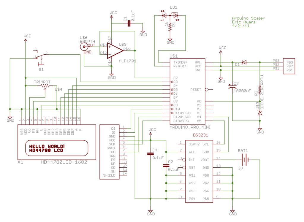 Arduino-based event counter schematic