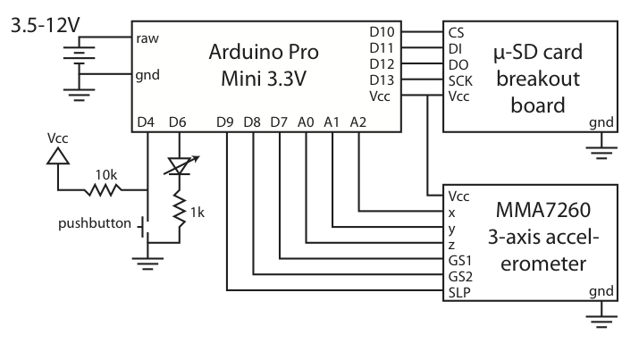 Arduino datalogging accelerometer with µ-SD storage schematic