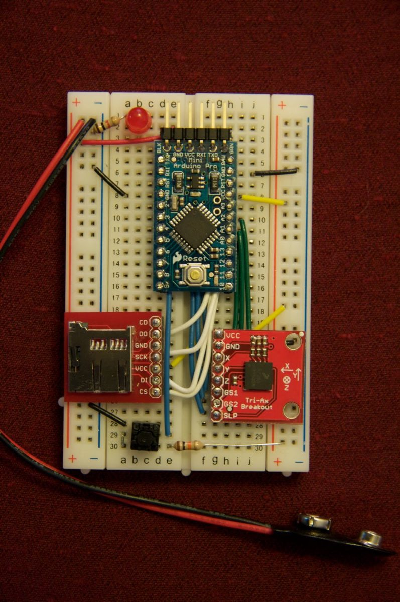 Arduino datalogging accelerometer with µ-SD storage