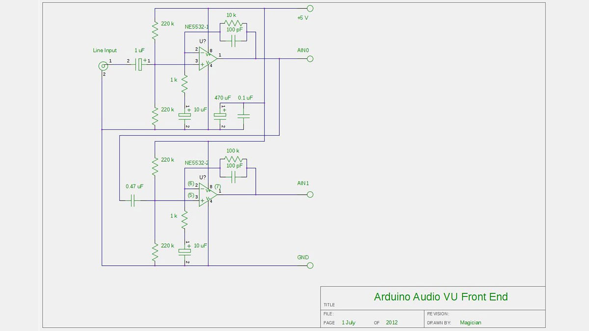 Audio VU meter with Extra wide Dynamic Range 69 dB using Arduino schematic