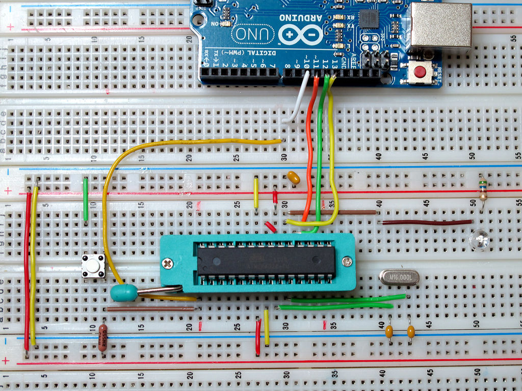 Burn Arduino Bootloader on Atmega-328 TQFP and DIP chips on Breadboard circuit