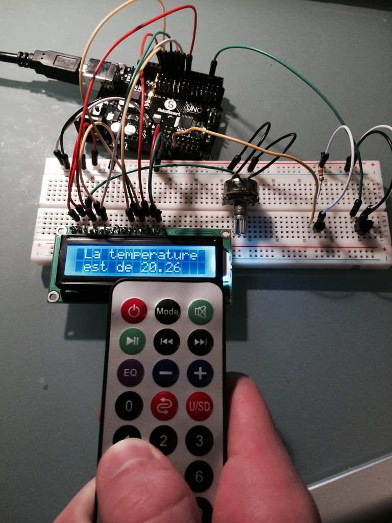 Capteur temperature choix du type de degres par infrarouge using arduino