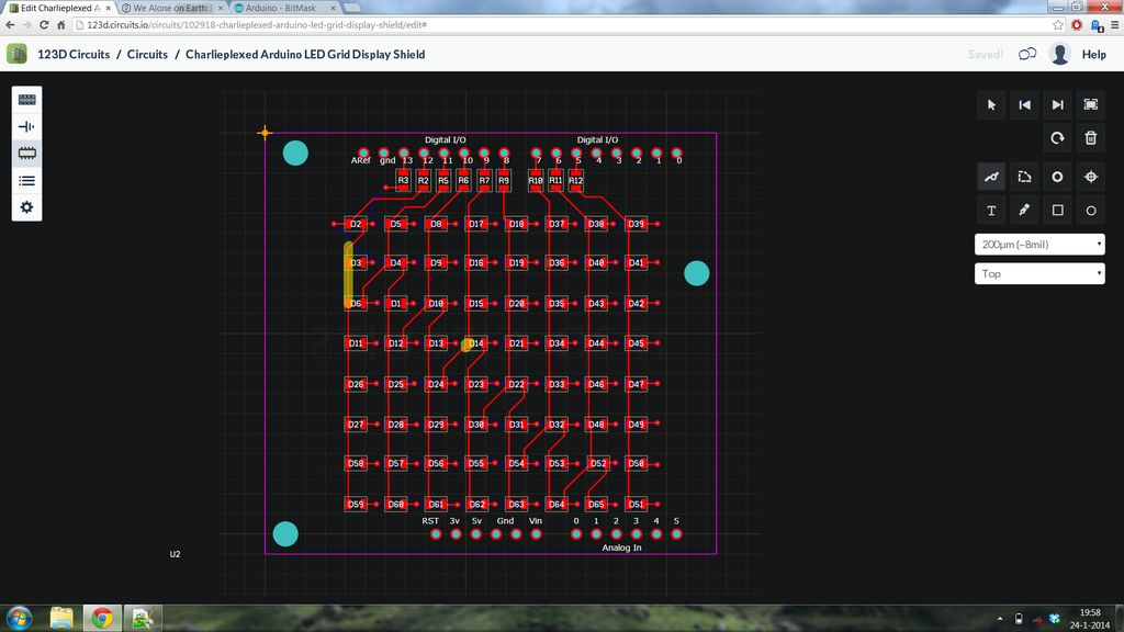 Charlieplexed Arduino 8x8 LED Grid Display Shield made and simulated in 123D Circuits