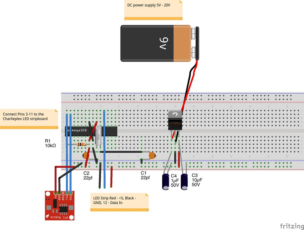 Charliexplexed LED Clock - Arduino circuit