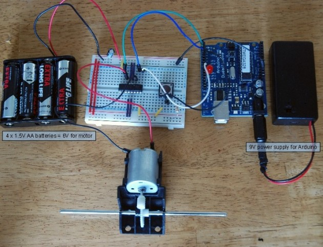 Control a DC motor with Arduino and L293D chip circuit