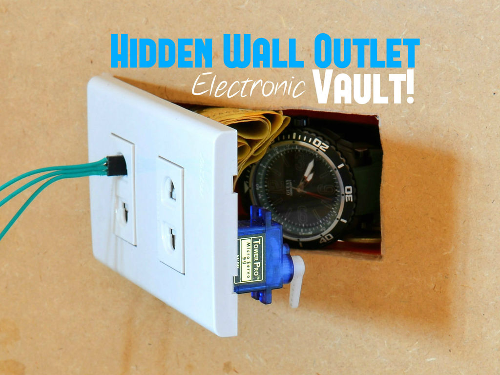 Hidden Wall Outlet Safe (w/Arduino Lock) using arduino