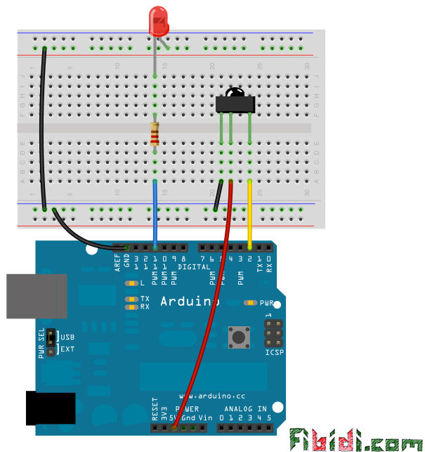 How to use the IR library with an attiny using Arduino circuit